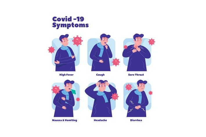 Covid-19 Symptoms Graphics Illustration