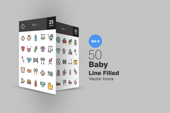 Thumbnail for 50 Baby Line Filled Icons