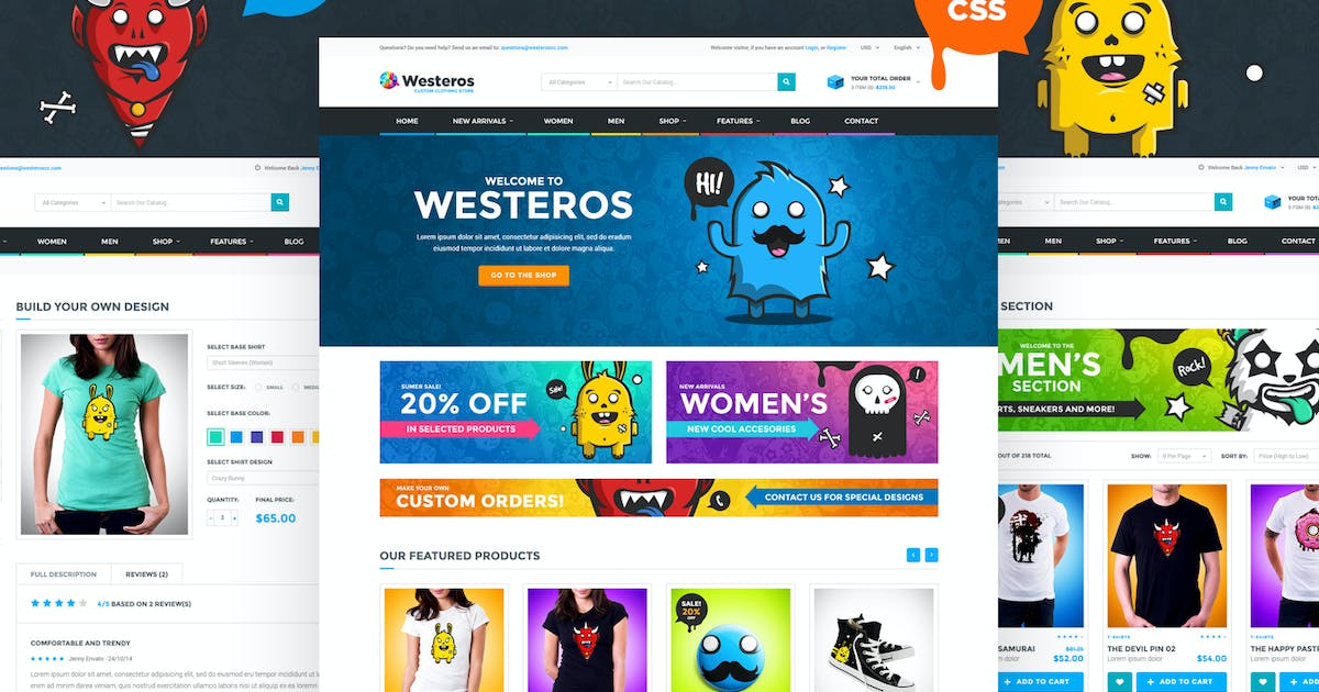 Download Westeros - Custom Clothing Shop HTML Template by Odin_Design