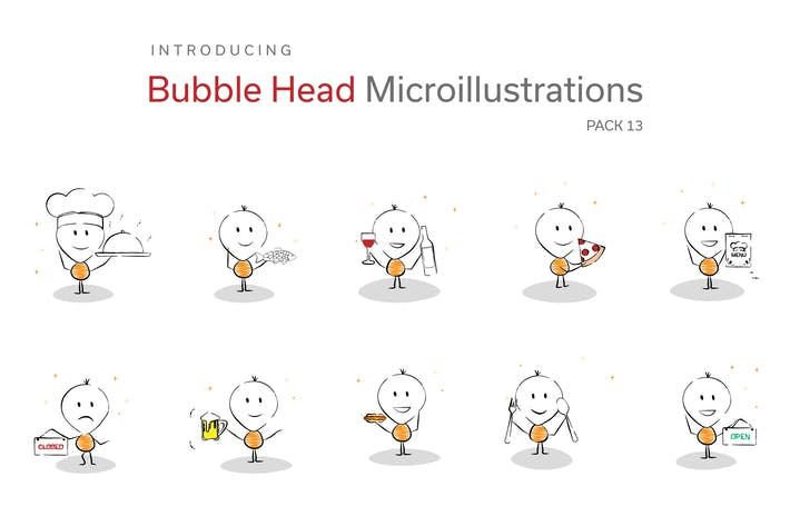 Thumbnail for Bubble Head Micro Illustrations - Food & Drinks
