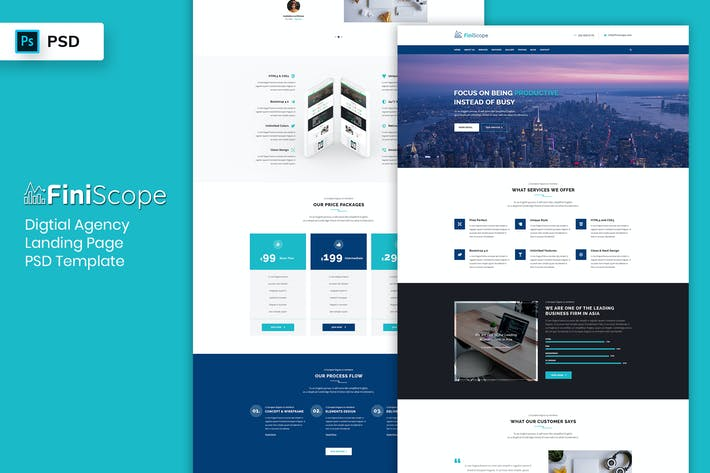 Thumbnail for Digital Agency - Landing Page PSD Template