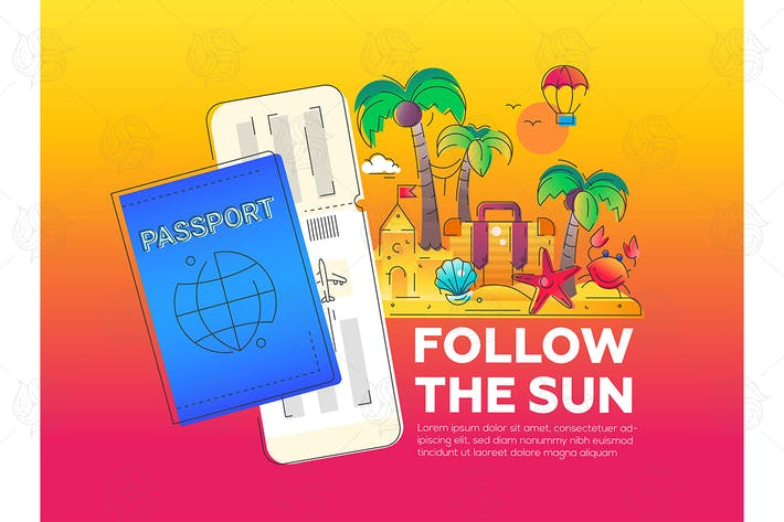 Follow the Sun - vector line travel illustration