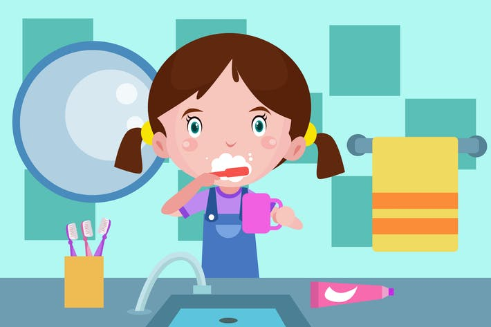 Thumbnail for Little Girl Brush a Teeth - Vector Illustration
