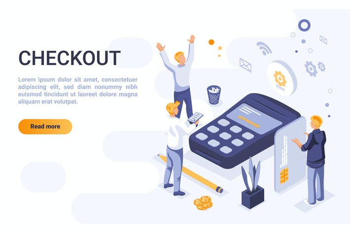 Checkout Isometric Header Flat Concept