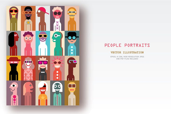 Thumbnail for Set of People Portraits vector illustration