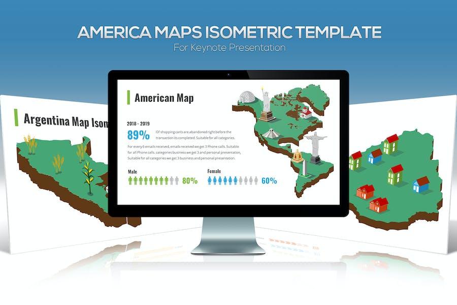 America Maps Isometric & Legends For Keynote
