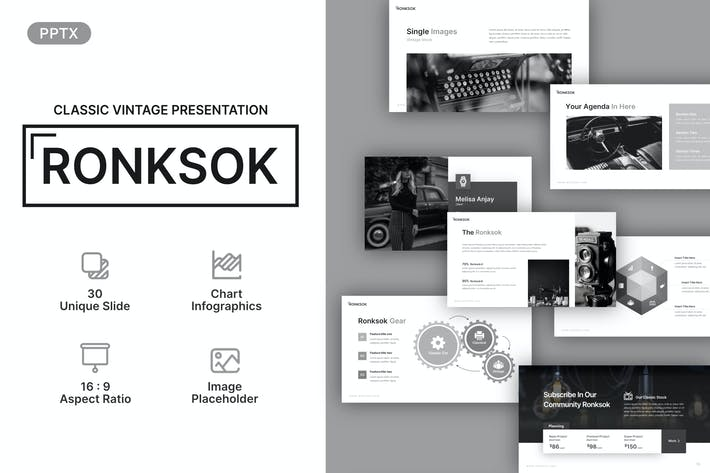 Thumbnail for Ronksok Classic Vintage Powerpoint Template