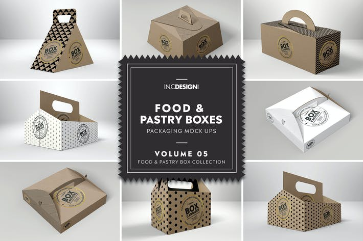 Thumbnail for Food Pastry Boxes Vol.5:Carrier Boxes Mockups