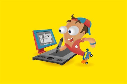 Fun Designer mit Tablet