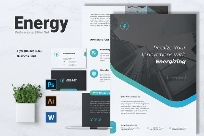 Thumbnail for ENERGY Power Plant Flyer & Business Card