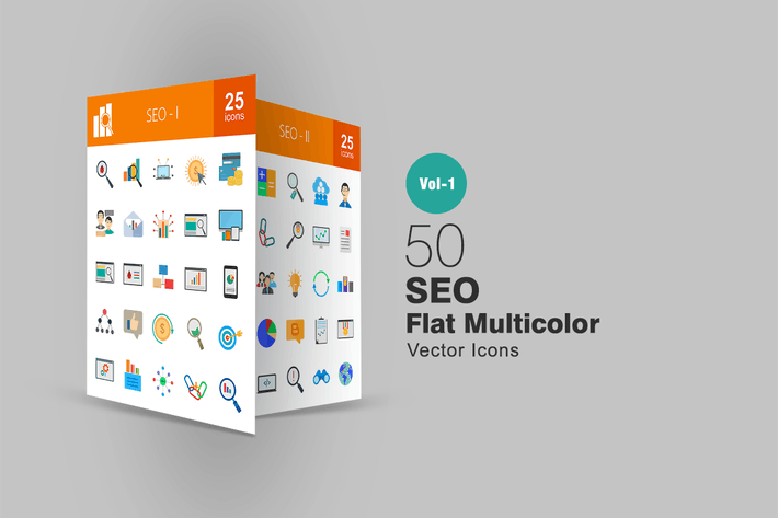 Thumbnail for 50 SEO Flat Multicolor  Icons