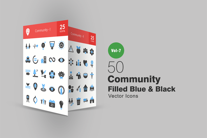 Thumbnail for 50 Community Blue & Black Icons