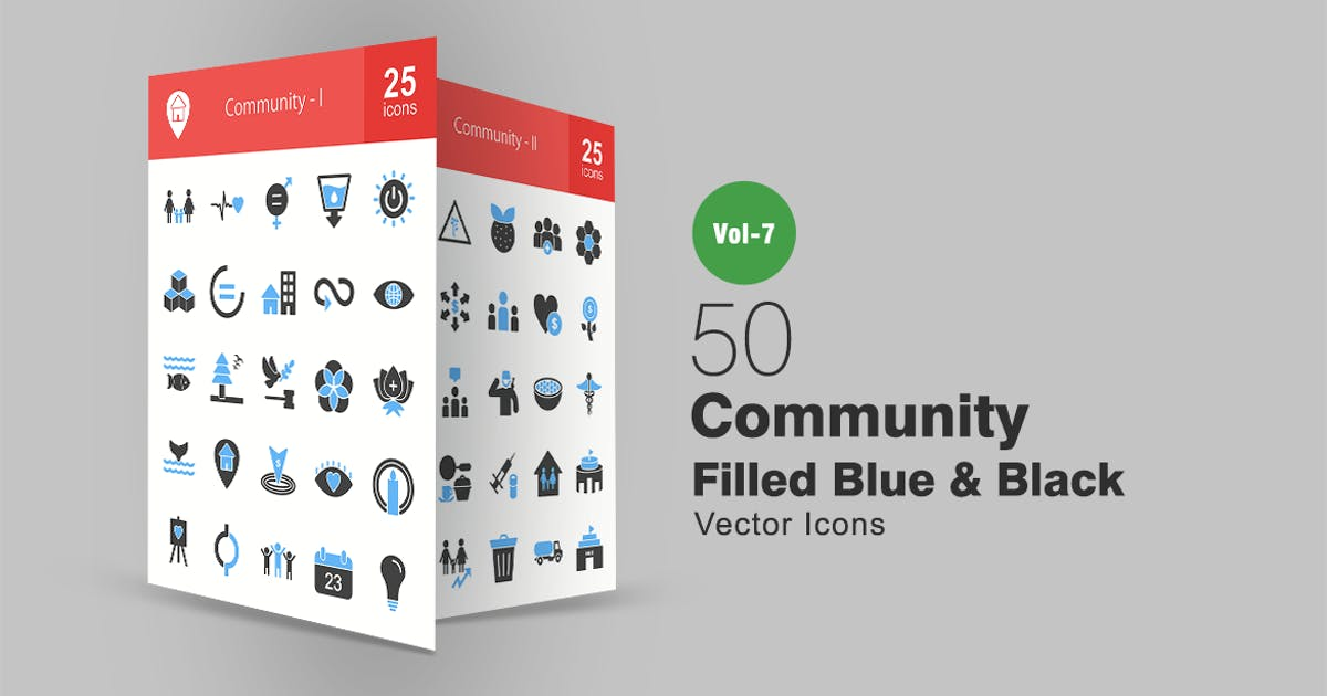 Download 50 Community Blue & Black Icons by IconBunny