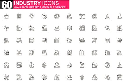 Heavy Industry Thin Line Icons Pack
