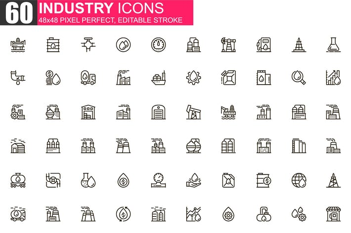 Thumbnail for Heavy Industry Thin Line Icons Pack