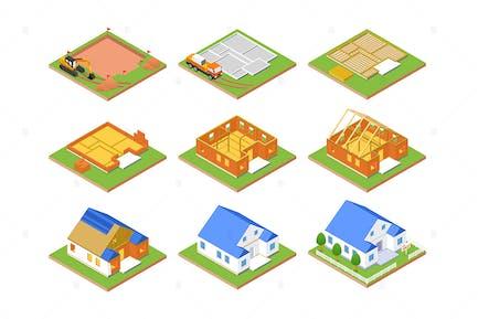 Plan de construcción - Conjunto de objetos isométricos