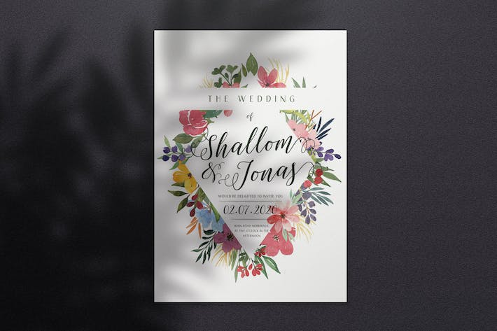 Thumbnail for Watercolor Wedding Invitation A4 - Style 01
