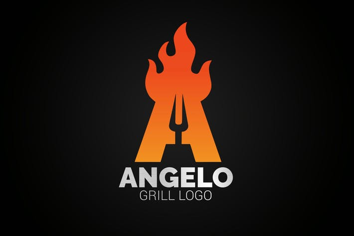 Thumbnail for Letter A Fire Grill Logo