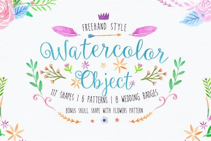 Freehand Watercolor Style Objects