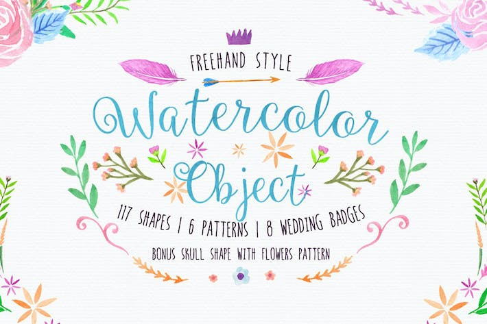 Thumbnail for Freehand Watercolor Style Objects