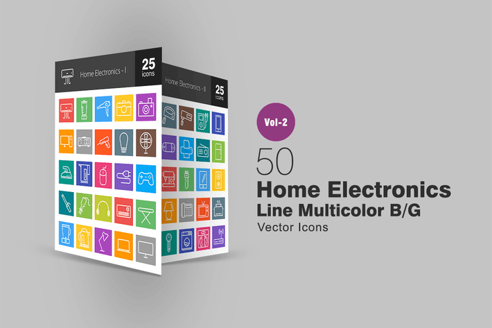 Thumbnail for 50 Home Electronics Line Multicolor Icons