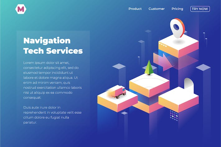 Thumbnail for Navigation service web landing page. Vector isomet