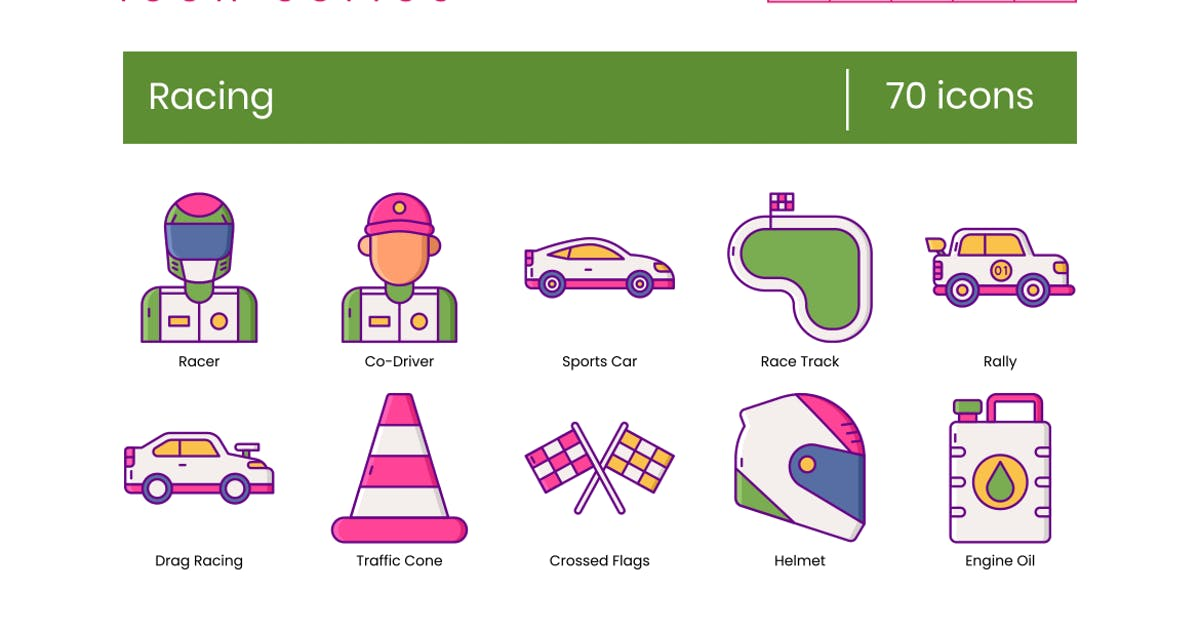 Download 70 Racing Icons - Wildberry Series by Krafted