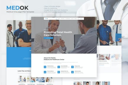Medok - Medical One Page PSD Template