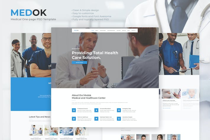 Thumbnail for Medok - Medical One Page PSD Template