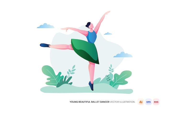 Joven hermosa bailarina de ballet ilustración Vector