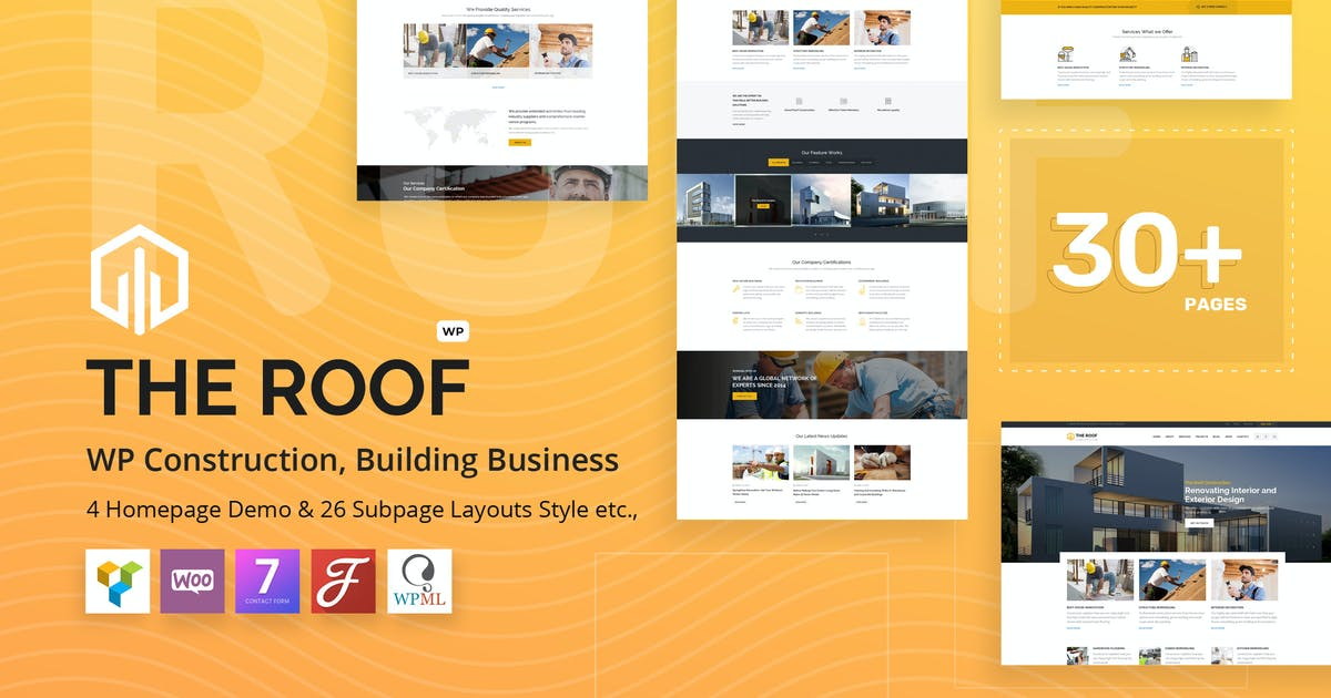 Download Roof - Construction, Building WordPress Theme by VictorThemes