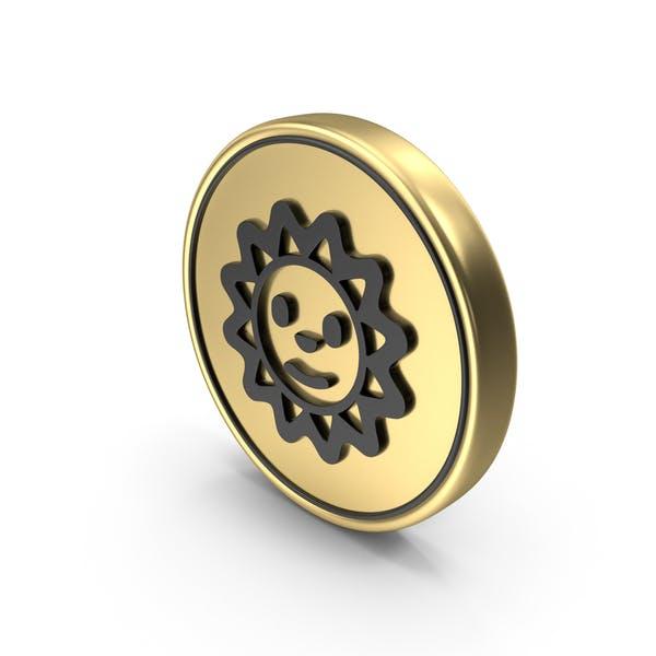 Sun sonrisa cara moneda Logo icono
