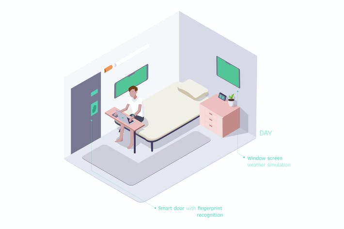 Thumbnail for Smart Room Isometric Illustration