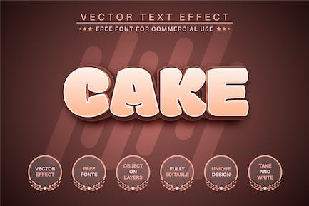 Cake -  Editable Text Effect, Font Style