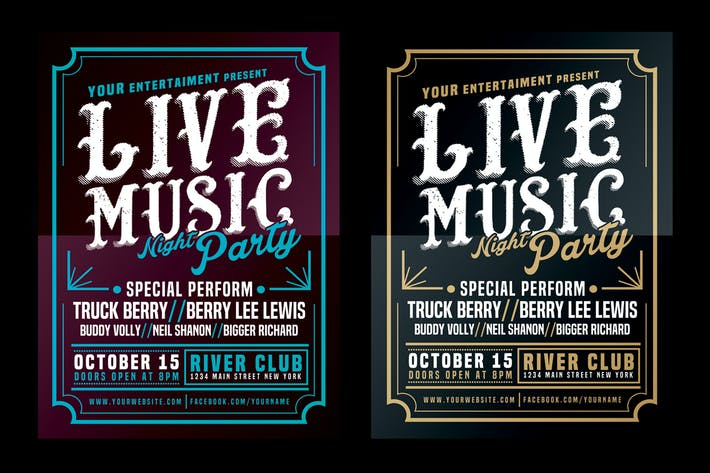 Thumbnail for Live Music Typography Poster Flyer