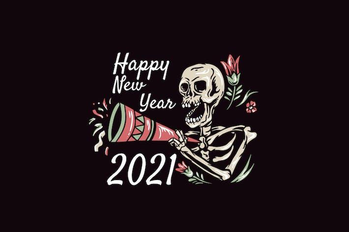 Thumbnail for skull happy new year 2021 illustration