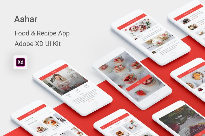 Thumbnail for Aahar - Food & Recipe UI Kit for Adobe XD
