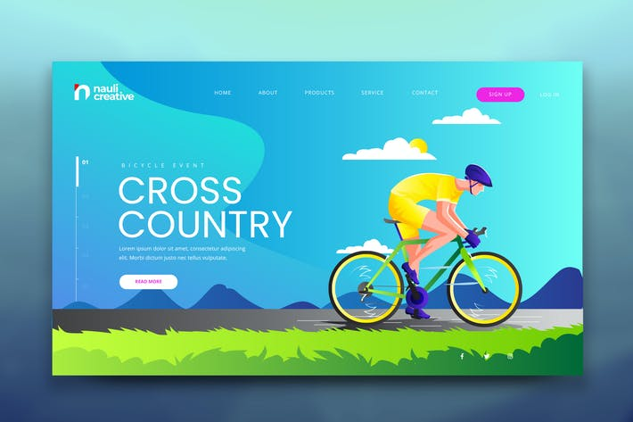 Thumbnail for Cyclist Adventure Web PSD and AI Vector Template