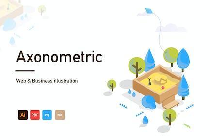 Axonometric Web and Business illustration