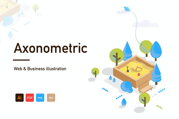 Thumbnail for Axonometric Web and Business illustration