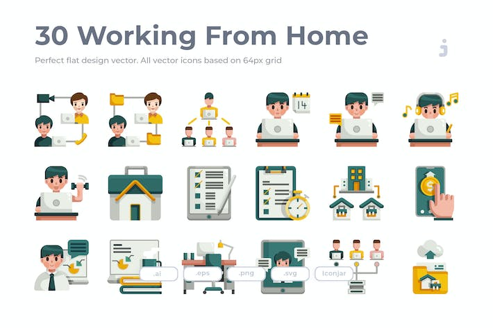 Thumbnail for 30 Working from Home Icons- Flat