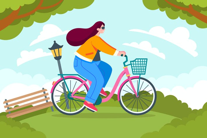 Girl Riding Bicycle Illustration