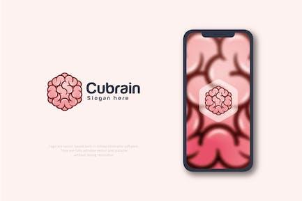 Логотип шестигранной коробки мозга