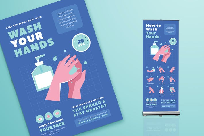 Thumbnail for Wash Your Hands Poster & Roll Banner Kampagne
