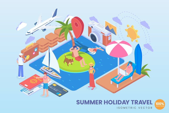 Thumbnail for Isometric Summer Holiday Vector Concept