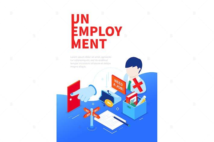 Thumbnail for Chômage et crise bannière isométrique colorée