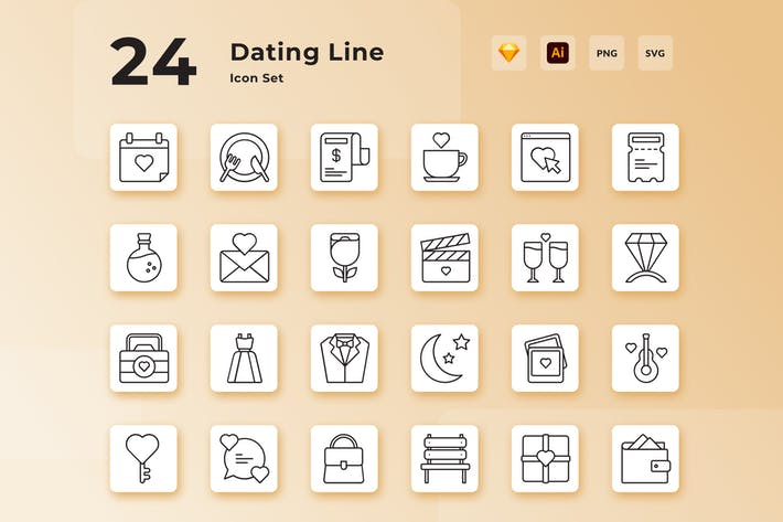 Thumbnail for Valentine Dating Line Icon Set