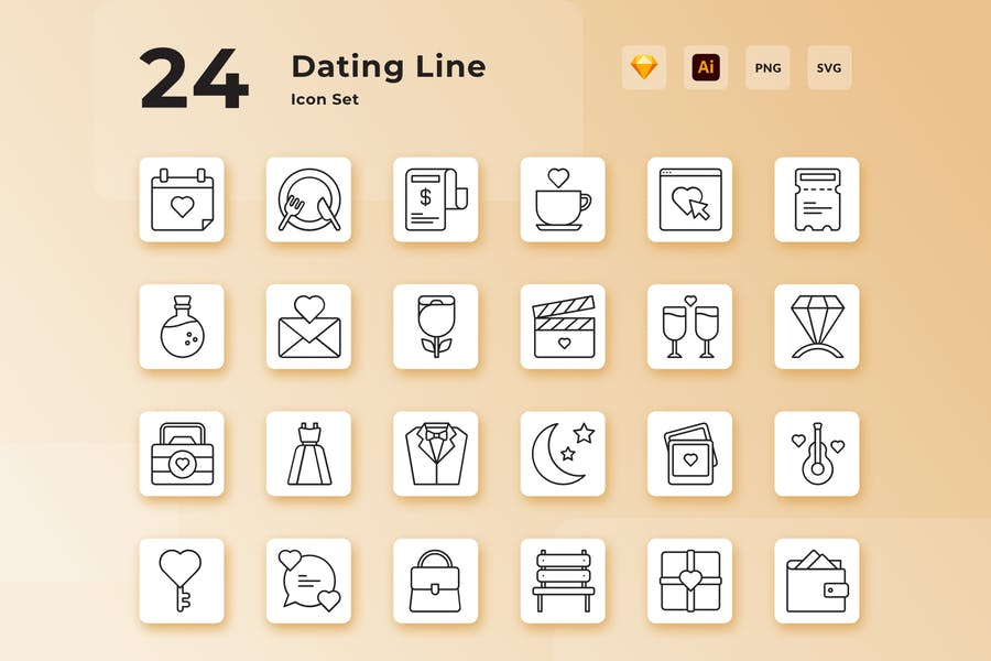 Valentine Dating Line Icon Set