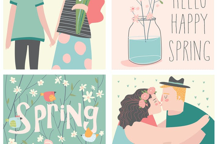 Thumbnail for Vector cartoon set of couples in love and spring e