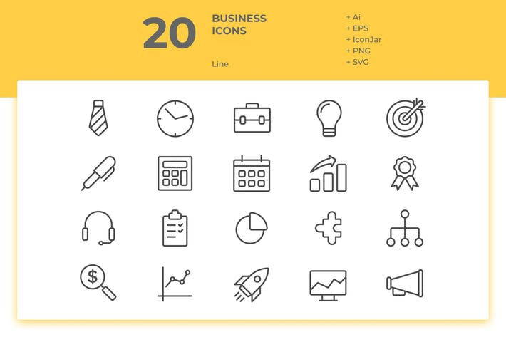Thumbnail for 20 Business Icons Vol. 1 (Line)